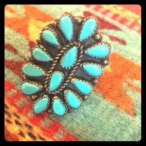 Old pawn Zuni turquoise ring